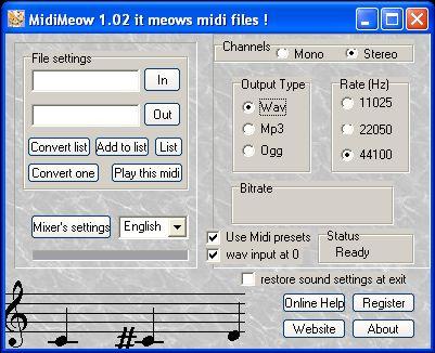 MidiMeow v1 02 for Windows XP